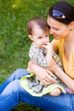 Happy mom with her child Stock Photos