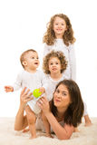 Happy mom and kids on top Royalty Free Stock Photography