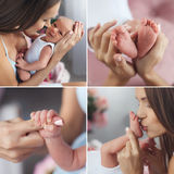 A happy mom with a newborn son,collage Stock Photo