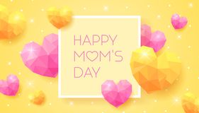 Happy Mom`s Day banner with pink and yellow triangle hearts Royalty Free Stock Image