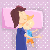 Happy mom and son sleep together. Vector illustration Stock Photo
