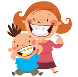 Happy mom and son with braces stock illustration