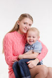 Happy mom and three year old son Stock Images