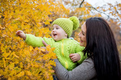 Happy mom and toddler boy on walk Royalty Free Stock Images