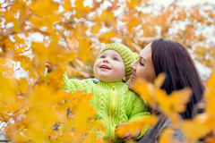 Happy mom and toddler boy on walk Royalty Free Stock Photos