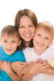 Happy mom with two children Stock Photo