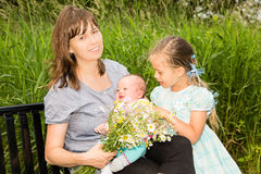 Happy Mom with Two Daughters Royalty Free Stock Photography