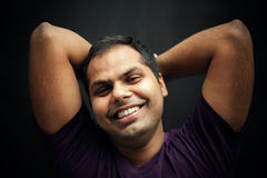 Happy moment of handsome indian man Stock Photos