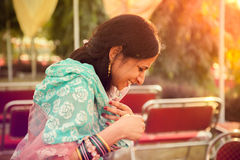 Happy moment of indian women Stock Photography