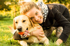 Happy moment with my dog Royalty Free Stock Photo