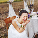 Happy moment, wedding day of young newlywed couple. Stock Image