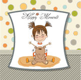 Happy moments card with little bear and her teddy bear Stock Image
