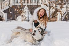 Free Happy Moments On Winter Time Of Amazing Youful Girl Playing With Husky Dog In Snow. Brightful Positive Emotions, True Royalty Free Stock Photography - 146860587