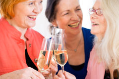 Happy Moms Celebrating Something with Wine. Close up Three Happy Adult Mom Friends Celebrating Something with Glasses of White Wine Royalty Free Stock Photos