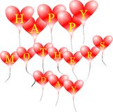 Happy moms day. Mothers day text on red heart balloons on white Royalty Free Stock Photos