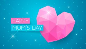Happy Moms Day banner with pink triangle hearts. Greeting card for Happy Moms Day. Horizontal web banner with pink triangle heart on doted blue background stock illustration