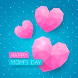 Happy Moms Day banner with pink triangle hearts. Greeting card for Happy Moms Day. Web banner with pink triangle hearts on doted blue background royalty free illustration