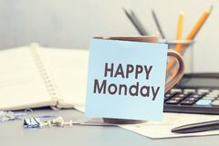 Free Happy Monday - Concept Of Text On Sticky Note. Work And Study Concept Royalty Free Stock Photo - 217780415