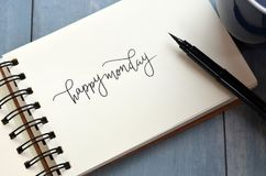 HAPPY MONDAY hand-lettered in notepad with brush pen vector illustration