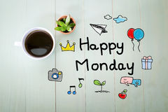 Happy Monday message with a cup of coffee Royalty Free Stock Photo