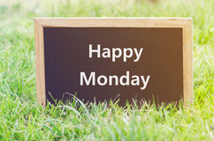 Happy Monday note on blackboard Royalty Free Stock Photos