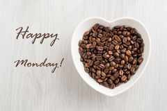 Happy Monday note and coffee bean Stock Image