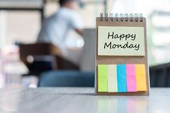 Happy Monday text on note paper or empty reminder template on wooden table. New Goal New Start concept. Happy Monday text on note paper or empty reminder stock photography