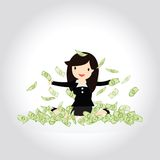 Happy Money Concept. Happy business woman enjoying throwing money up Royalty Free Stock Image