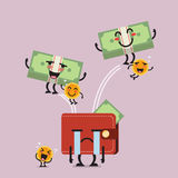 Happy money jumping out of desperate wallet. Funny cartoon emoticons Stock Photo