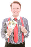Happy money. Young happy businessman holding some euro banknotes for your concepts - isolated on white Stock Photos