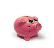 Happy Moneybox (expecting money). Close up view of a happy pig moneybox on a white background. expecting money Stock Photo