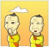 Happy monk and sad monk stock image