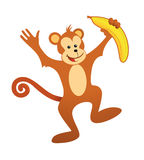 Happy monkey. Cute cartoon monkey with yellow banana Royalty Free Stock Images
