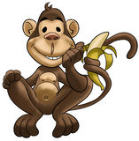 Happy monkey. Smiling and with a banana in his tail Stock Images