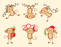Happy monkey cartoon New Year set Stock Photography