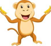 Happy monkey cartoon with two banana. Illustration of happy monkey cartoon with two banana isolated on white Royalty Free Stock Photography