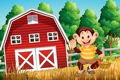 Happy monkey at farm house. Illustration stock illustration