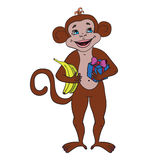 Happy monkey with a gift and bananas. Happy New Year 2016. Happy monkey with a gift and bananas on a white background. Happy New Year 2016 royalty free illustration