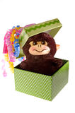 Happy monkey in a gift box. Happy monkey in a colorful gift box Stock Image