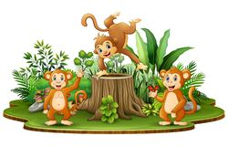 Happy monkey group with green plants stock illustration