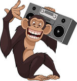 Happy monkey recorder. Vector illustration, funny chimpanzee with a tape recorder Stock Photography