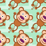 Happy monkey seamless background design Stock Image