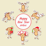 Happy monkey stickers New Year set Stock Image