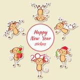 Happy monkey stickers New Year set Stock Image