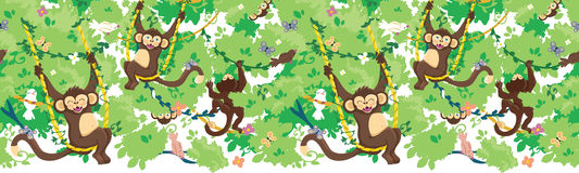 Happy monkeys vector horizontal seamless pattern Stock Image