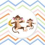 Happy Monkeys Vector illustration striped background Stock Photo