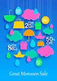 Happy Monsoon Sale Offer promotional and advertisment banner Stock Photos
