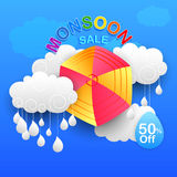 Happy Monsoon Sale Offer promotional and advertisment banner Royalty Free Stock Photography