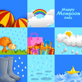 Happy Monsoon Sale Offer promotional and advertisment banner Stock Photo