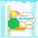 Happy Monsoon Sale Offer promotional and advertisment banner. Vector illustration of Happy Monsoon Sale Offer promotional and advertisment banner Stock Photos